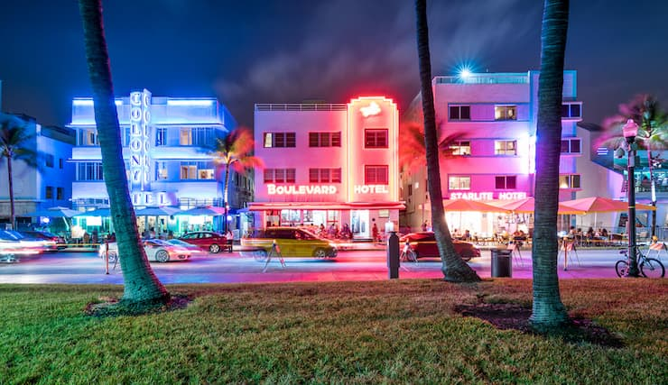Miami Beach with neon lit buildings