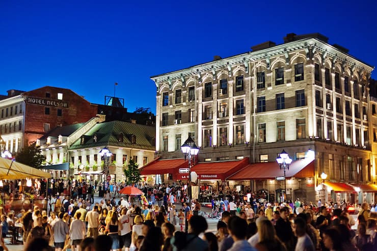 A busy square in Montreal, Canada