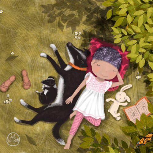 A painting of a girl and her dog napping in the grass