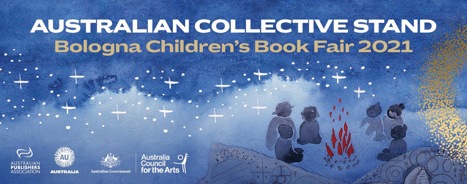 """A welcome banner reading """"Australian Collective Stand - Bologna Children's Book Fair 2021"""" and featuring the logos of the APA, the Australian Nation Brand, The australian Government and teh Australian Council For the Arts"""