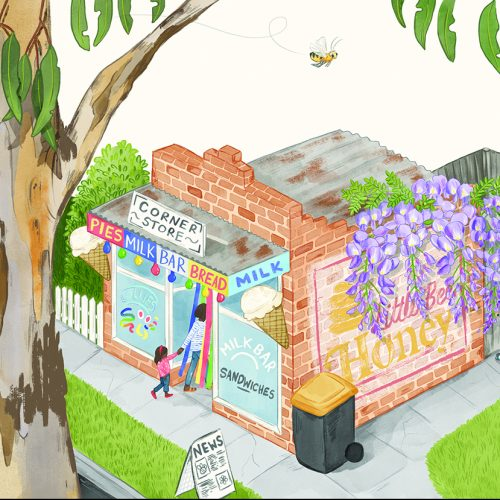 An illustration of a gum tree in front of a corner store