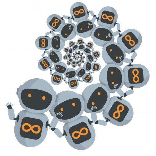 A spiral consisting of little cartoon robots