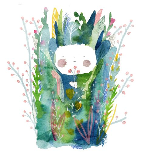 A watercolour painting of a face peeking through deep plant growth