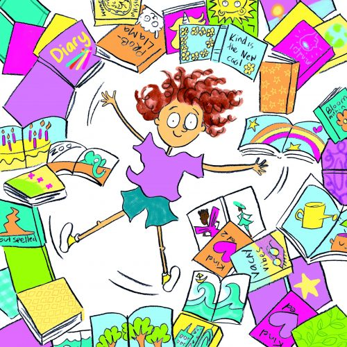 A colourful drawing of a girl surrounded by books