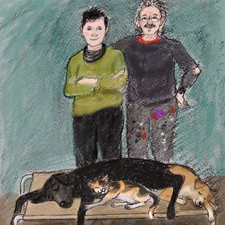 A colour sketch of Andrew, his wife Janet and their pets