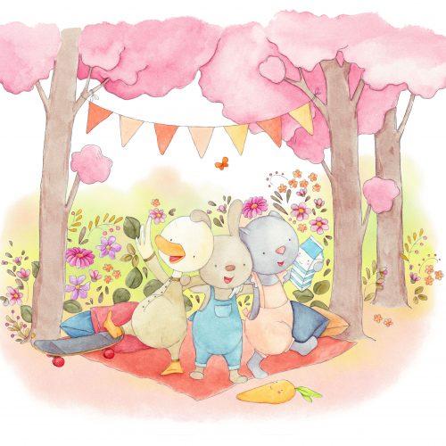 An illustration of three animal friends having a picnic