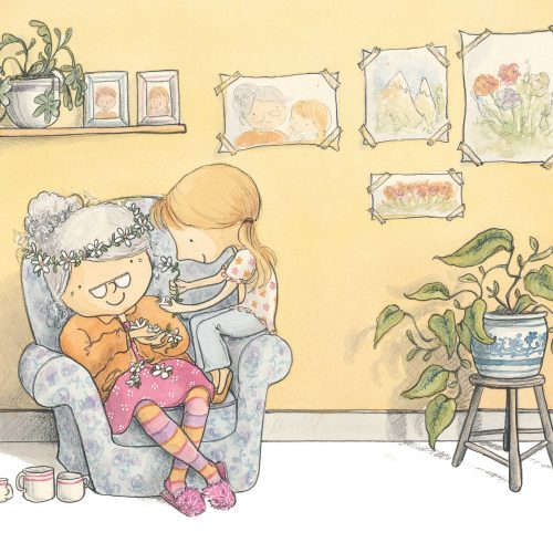 An illustration of a young girl and her grandmother