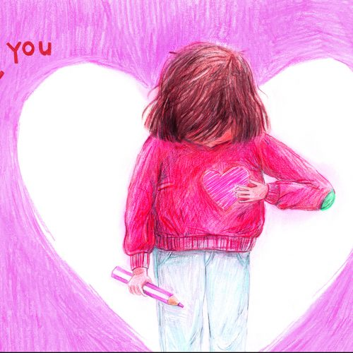 A young girl holding a cartoon heart over her chest