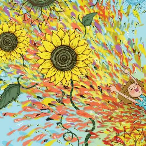 An illustration of an explosion of sunflowers