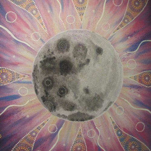 A painting on canvas of Biarra, the moon
