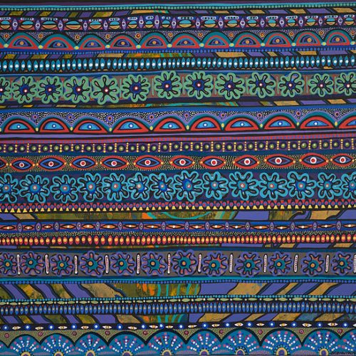 """Bancroft's piece """"Garden Love"""", traditional Bundjalung shapes and representations in rows of bright colours"""