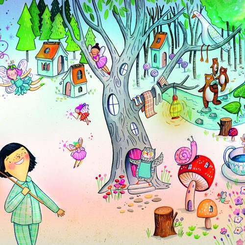 An illustration of children walking past a magical tree full of fantasy creatures