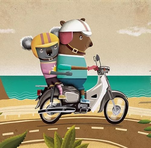 An illustration of a wombat and a koala riding a motor scooter
