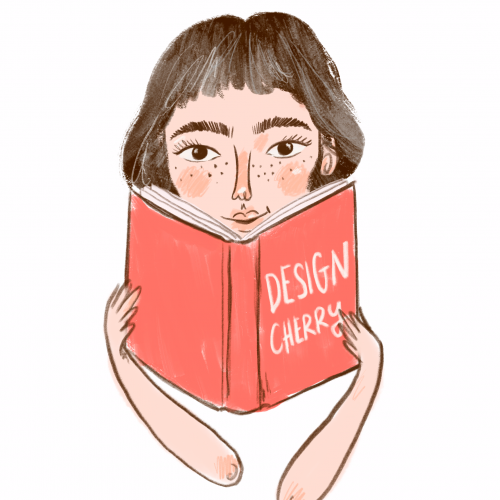 """A drawing of a girl reading a book, the cover of which reads """"Design Cherry"""""""