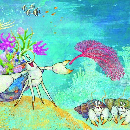 A watercolour hermit crab serenades his fellow crustaceans