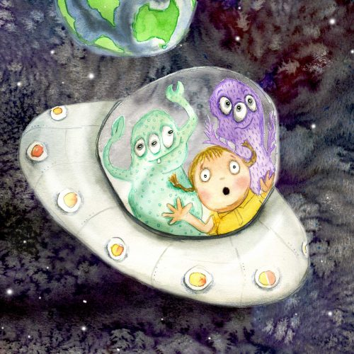 A painting of aliens and a small child in a UFO