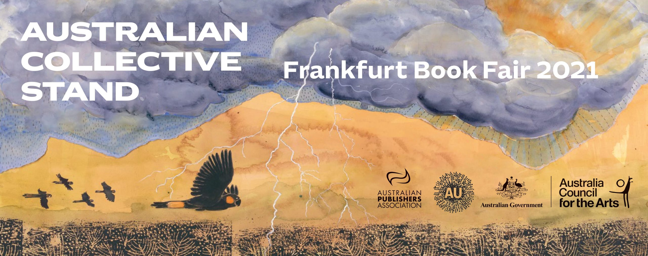 """Banner reading """"Australian Collective Stand - Frankfurt Book Fair 2021"""" and featuring the logos of the Australian Publishers Association, the Australian Nation Brand, the Australian Government and the Australia Council for the Arts, over the artwork of Lisa Kennedy"""