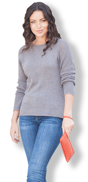 Women styled in gray sweater and jeans by The Ms. Collection