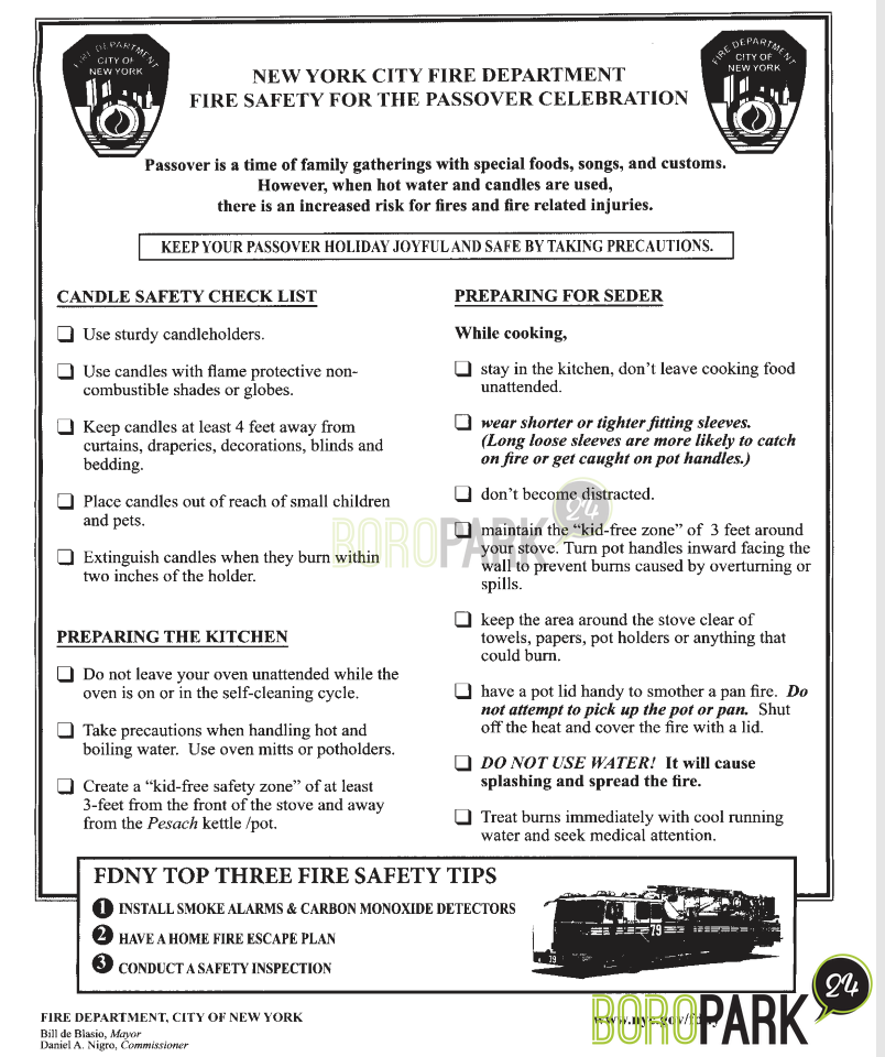 Fire Dept  Urges Extra Caution Around Fires Over Pesach – Boro Park 24