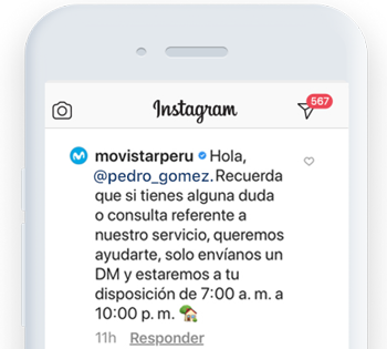 "Add some automation to your comments on Instagram like <span class=""text-bold"">Movistar Peru</span> does."