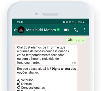 """O bot da <span class=""""text-bold"""">Mitsubishi</span> oferece o máximo de informação sobre os carros da marca."""