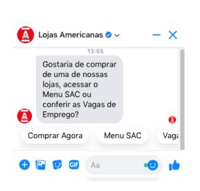 """O bot das <span class=""""text-bold"""">rede de varejo Lojas Americanas</span> é um exemplo de vendas e e-commerce."""