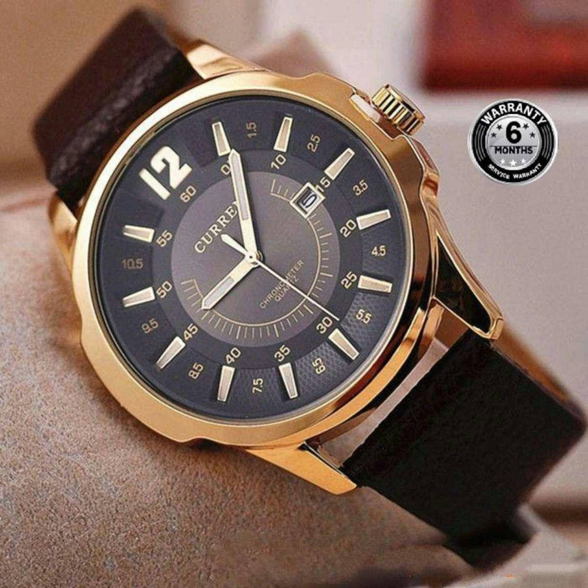 8123 Leather Analog Watch for Men - Coffee - Bponi