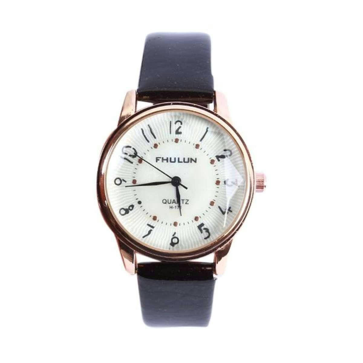 Chocolate Artificial Leather Chronograph Watch for Women - Bponi