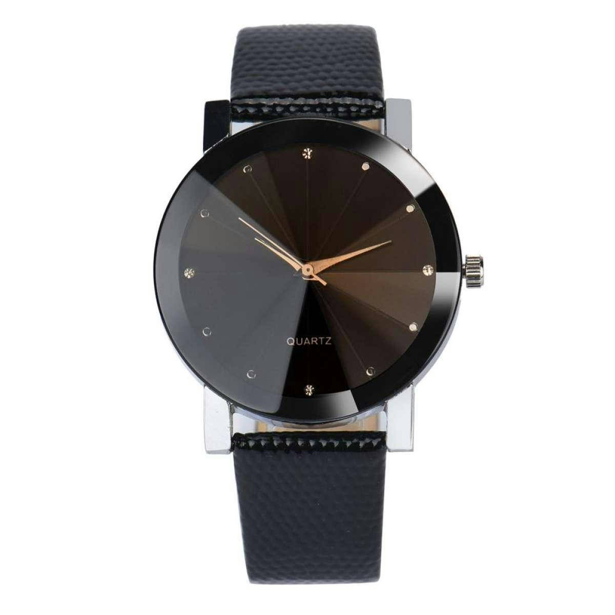Military Stainless Steel Dial Leather Band Wrist Watch - Bponi