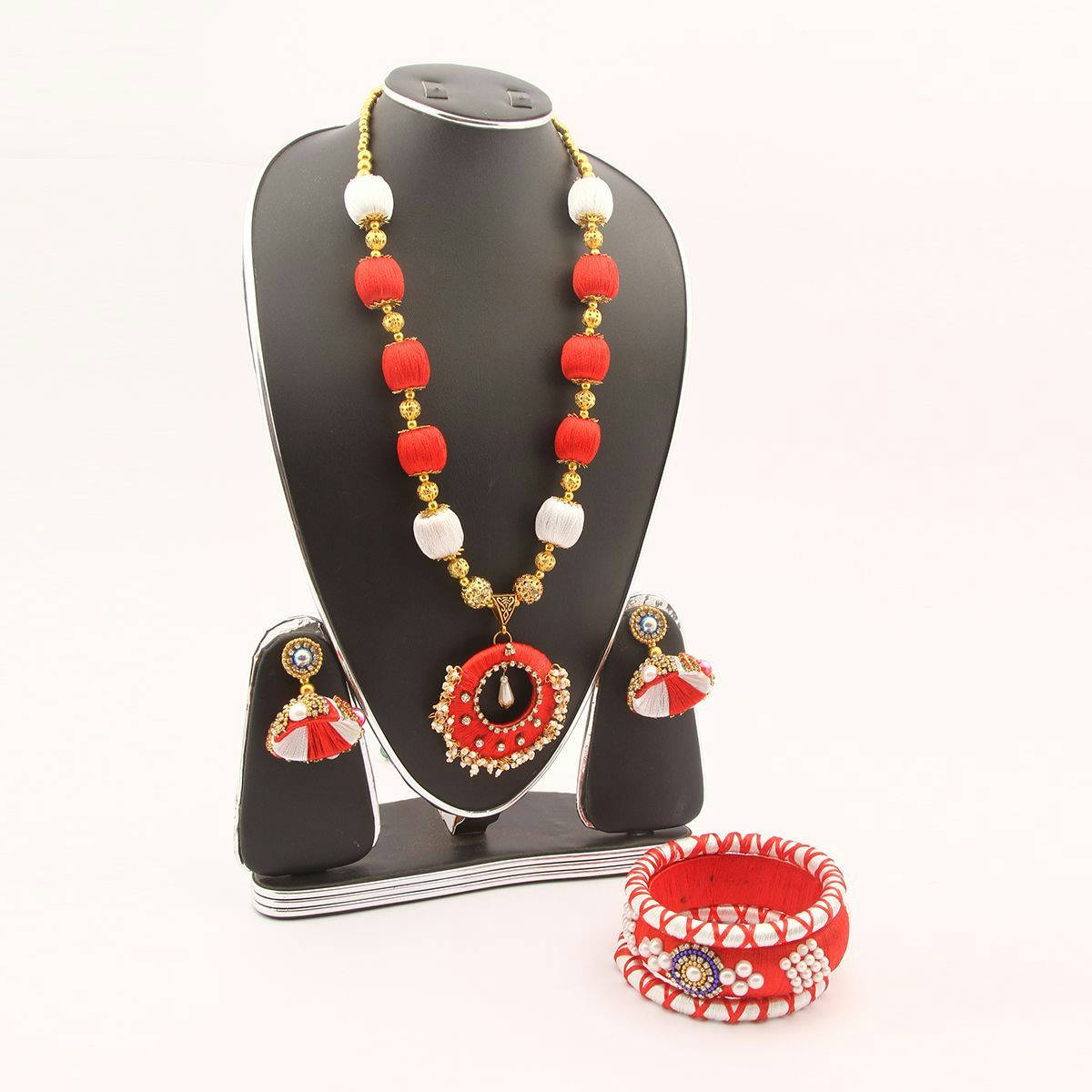 Red And White Silk Thread Jewellery Set(Js_28) - Bzx001 - Rct - Bponi