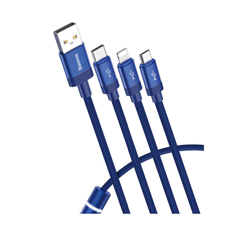 Bponi | Baseus Data Faction 3-in-1 Cable USB For M+L+T 3.5A 1.2m (CAMLT-PY03) - Blue