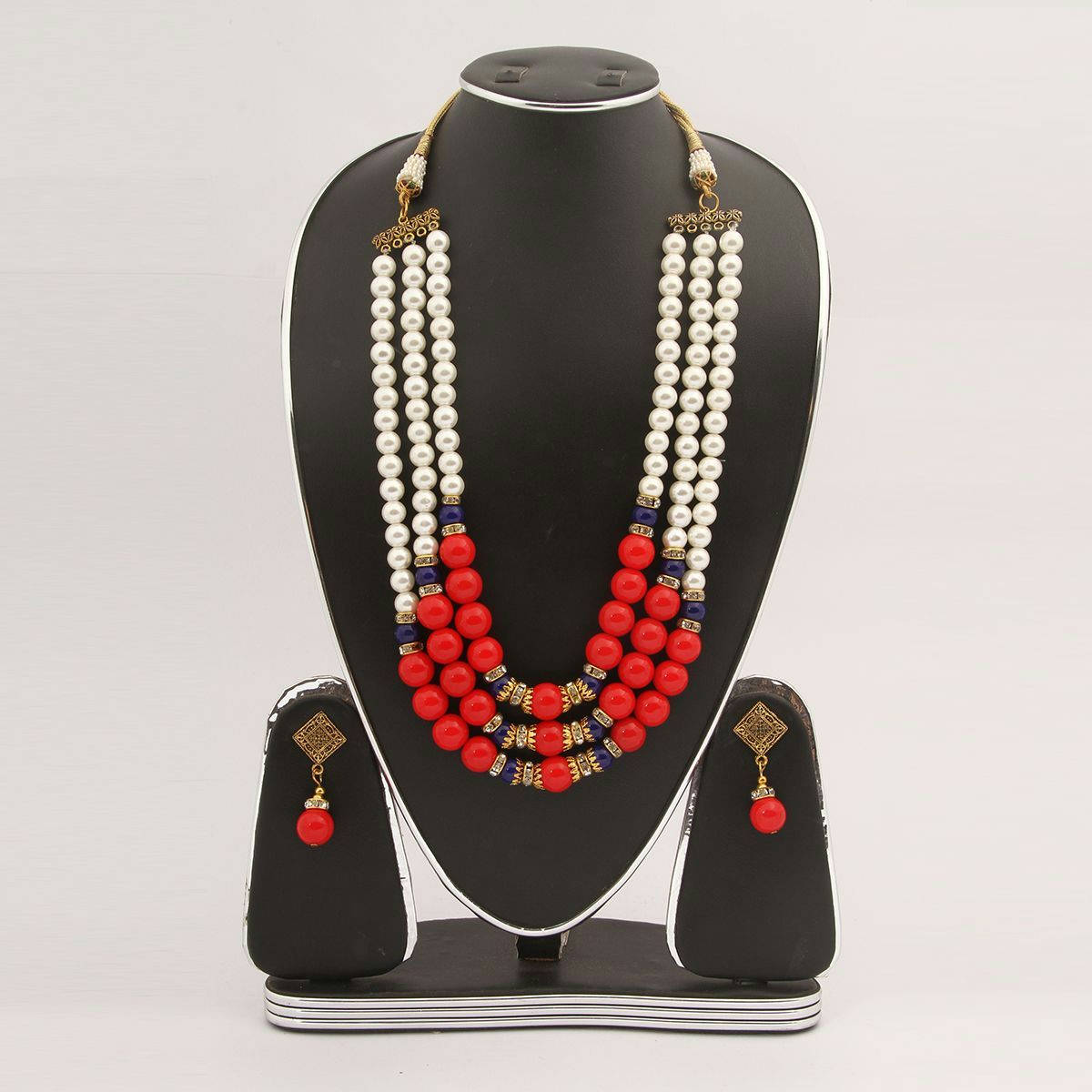 Bponi | Red & White Color Stone Pearl Setting Jewellery Set(Js_36) - Bzx009 - Rct
