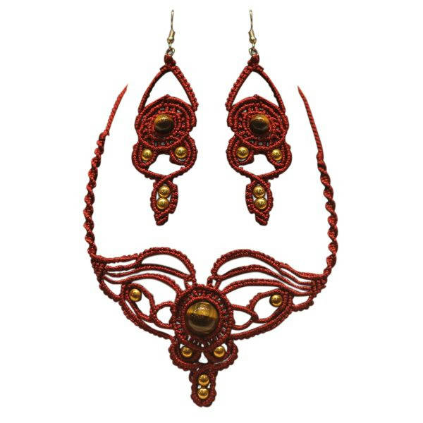 Bponi - Necklace With Eir Rings Cats Eye Stone With Macrame Cord Work - Psn103