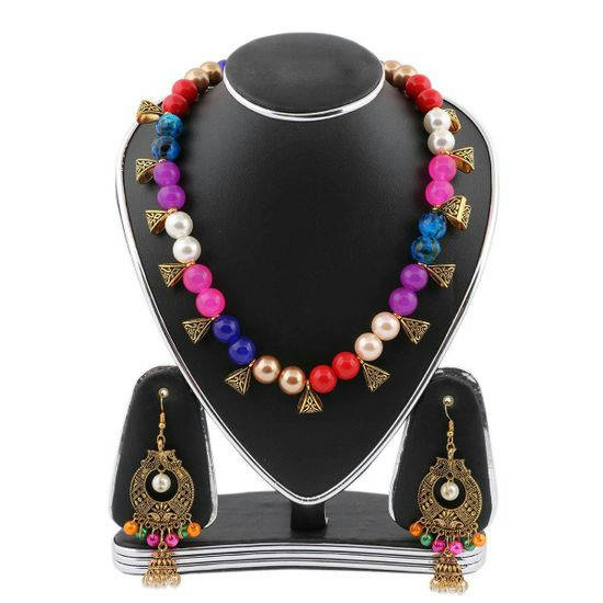 Multi Color Real Pearls Jewellery Set(Js_64) - Bponi
