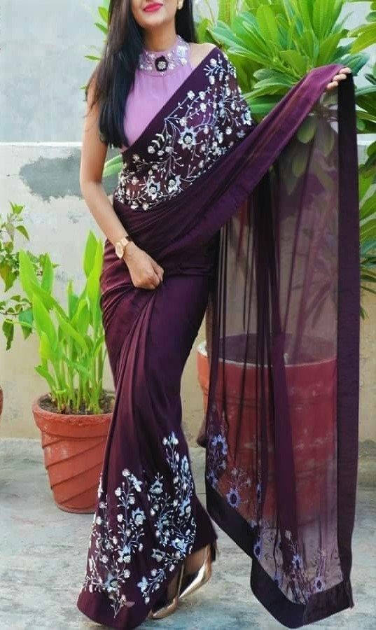 Bponi | Exclusive Georgette Embroidery Saree With Matching Blouse Piece