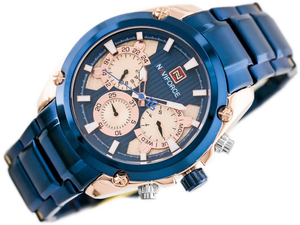 Bponi | NAVIFORCE NF9113 BLUE STAINLESS STEEL CHRONOGRAPH WATCH FOR MEN