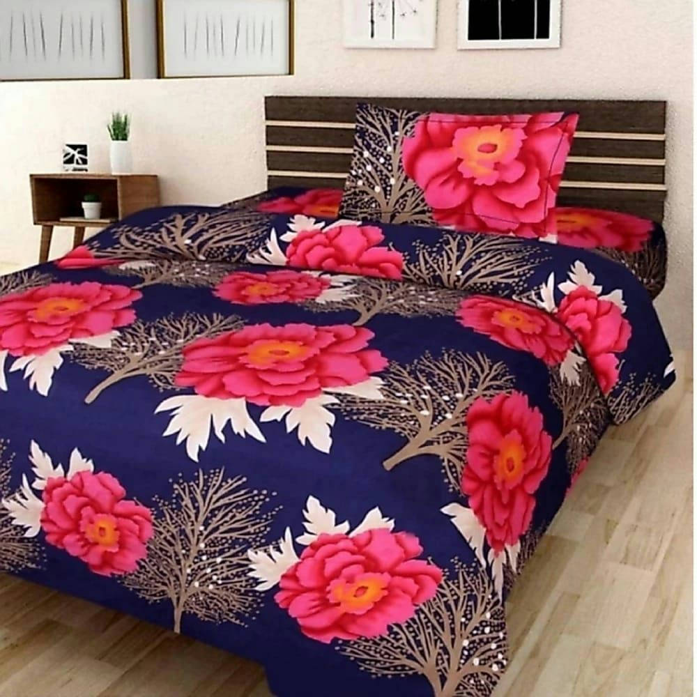 King Size Bed Sheet With Two Pillow Covers - Bponi