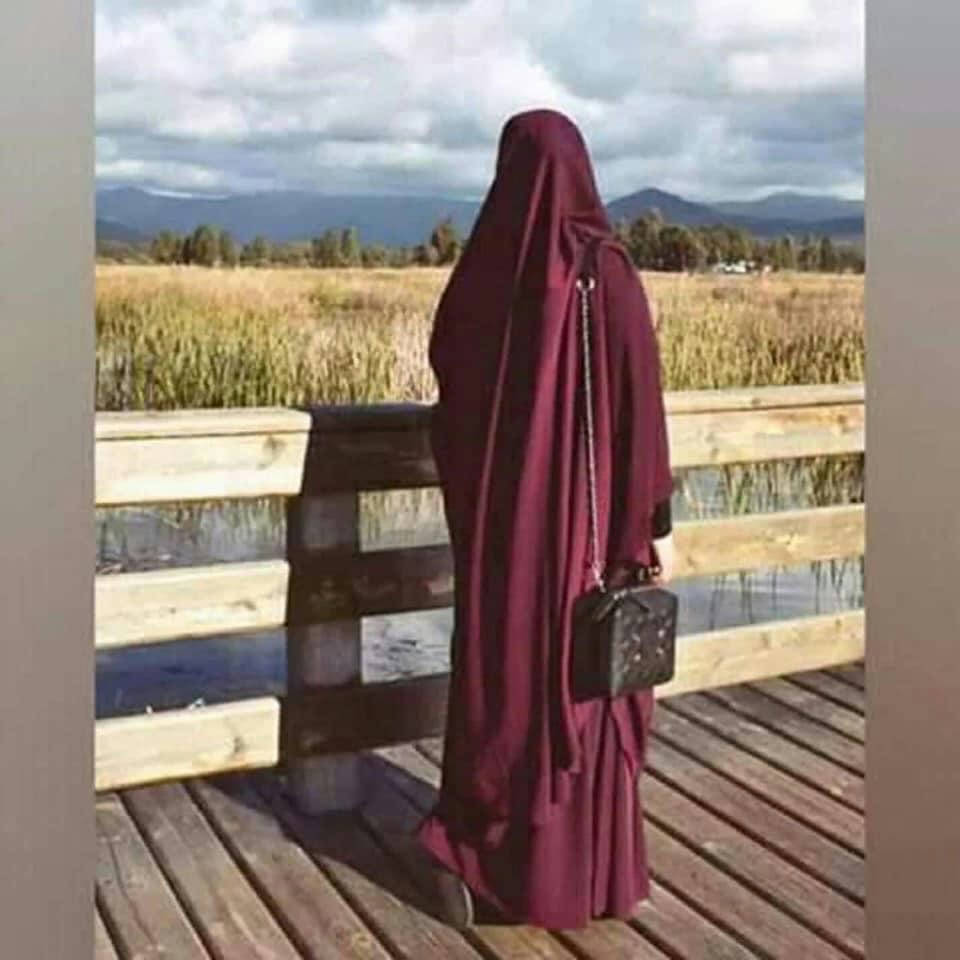 Maroon Color Khimar adjusted niqab with Iscariot for women - Bponi