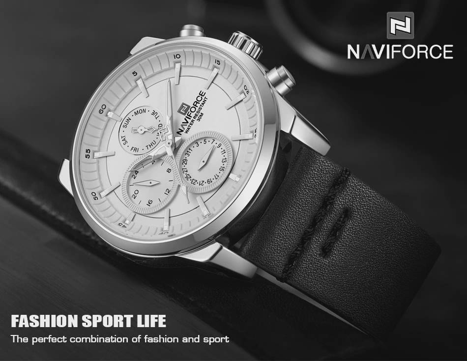 Bponi - NAVIFORCE NF9148 Navy Blue PU Leather Chronograph Watch For Men - Silver & Navy Blue