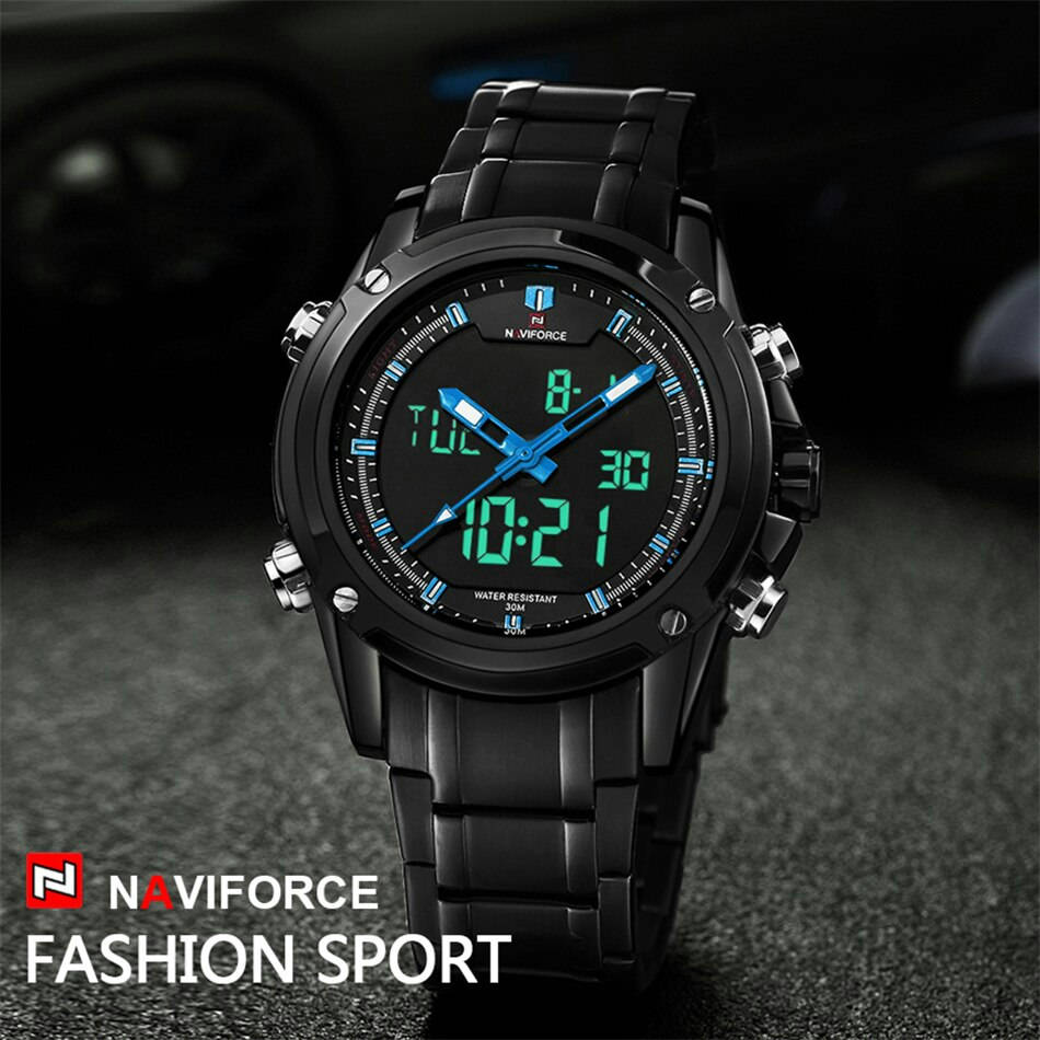 Bponi - NAVIFORCE NF9050 - Black Stainless Steel Dual Time Wrist Watch for Men