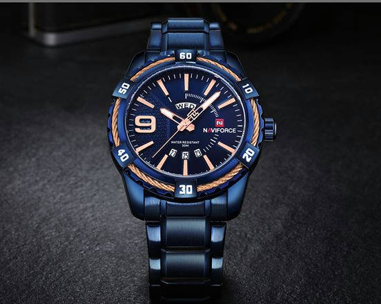 Bponi | Naviforce NF9117 - Royal Blue Stainless Steel Analog Watch for Men - Royal Blue