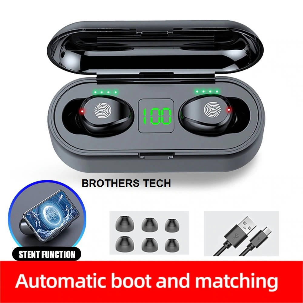 Bponi - F9 Wiresto Wireless Earbuds Bluetooth 5.0 TWS Touch-Control Headset Noise-Reducing Stereo F9 Headphones With Digital Display Charging Box