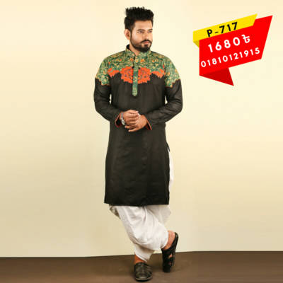 Bponi - Black Stylish and Exclusive Men's Cotton Punjabi with embroidery