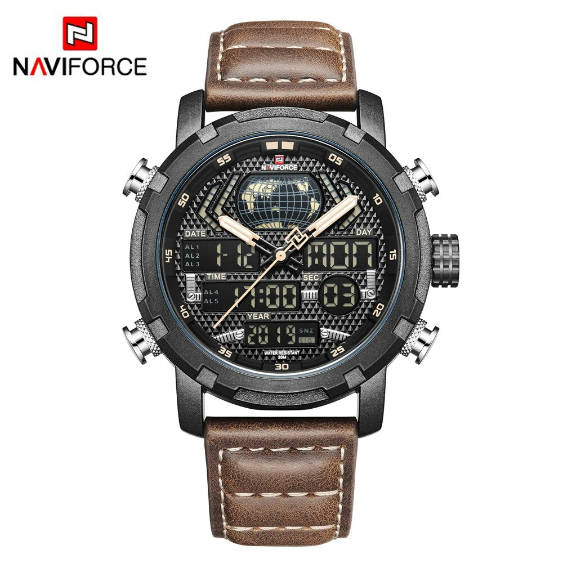 Bponi - NAVIFORCE NF9160 Luxury Sports LED Analog Dual Display Leather Strap Watch for Men