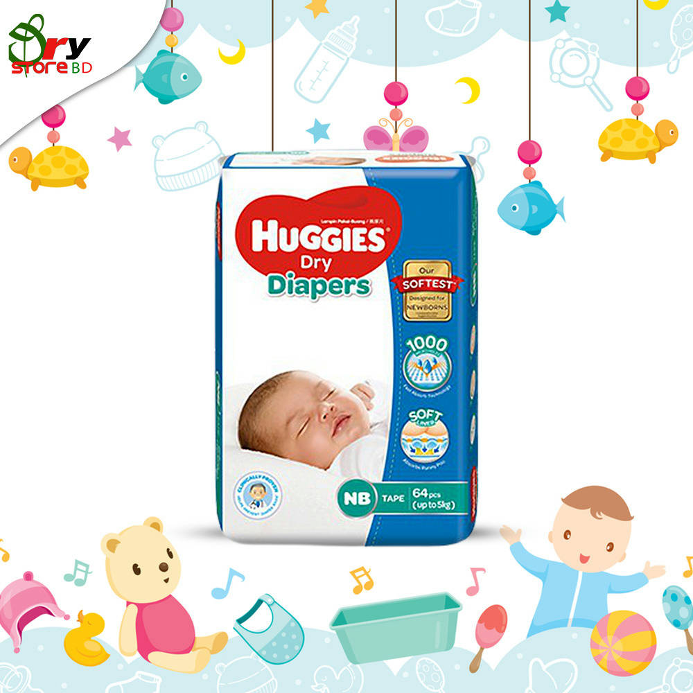 Huggies Dry Diapers NEW BORN 64 pcs UP TO 5KG. - Bponi