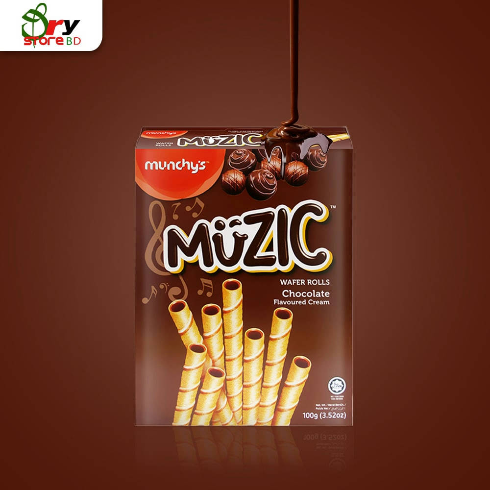 Munchys Muzic Chocolate Wafer Roll-100gm - Bponi