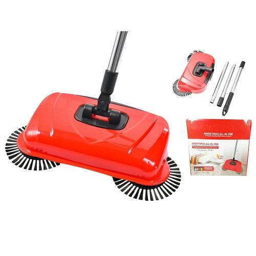 Sweep DraZ All In One Spin Broom Vacuum Cleaner Red Non Electric - Bponi