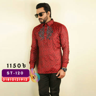 Bponi - Cotton  Red Sleeve Casual Katua Shirt for Men