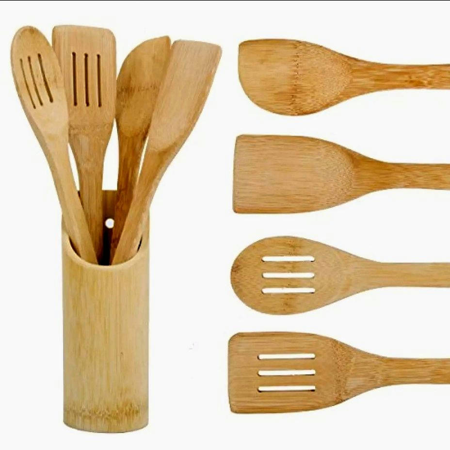Bamboo Wood Made Kitchen Cooking Spoon Set - 5pcs - Bponi