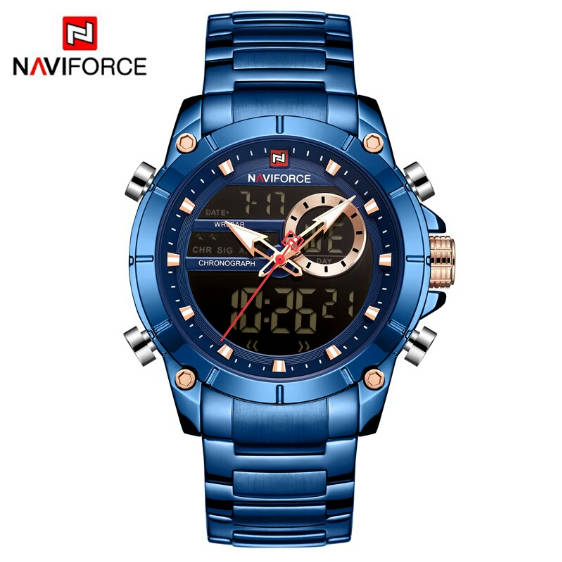 Bponi - NAVIFORCE NF9163 Stainless Steel Dual Time Wrist Watch